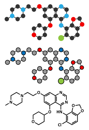 kinase: Saracatinib drug molecule. Dual kinase inhibitor, inhibiting both Src and Bcr-Abl tyrosine kinases. Stylized 2D renderings and conventional skeletal formula.