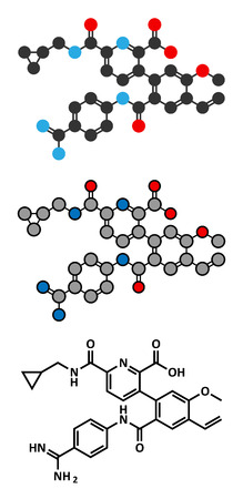 hereditary: Avoralstat hereditary angioedema (HAE) drug molecule. Stylized 2D renderings and conventional skeletal formula.