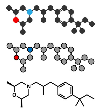 toenail: Amorolfine antifungal drug molecule. Commonly used in form of nail lacquer to treat onychomycosis. Stylized 2D renderings and conventional skeletal formula.