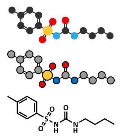 hypoglycemic: Tolbutamide diabetes drug molecule. Stylized 2D renderings and conventional skeletal formula. Illustration