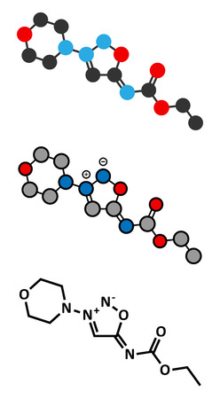 angina: Molsidomine angina drug molecule. Stylized 2D renderings and conventional skeletal formula.