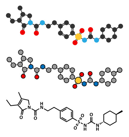 endocrinology: Glimepiride diabetes drug molecule. Stylized 2D renderings and conventional skeletal formula.