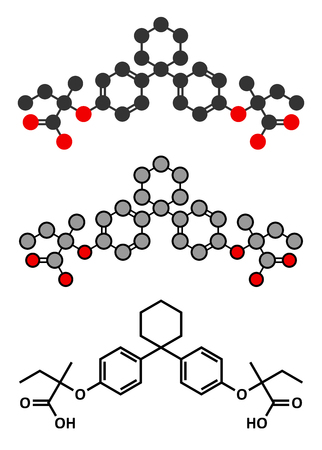 lipid a: Clinofibrate hyperlipidemia drug molecule (fibrate class). Stylized 2D renderings and conventional skeletal formula.
