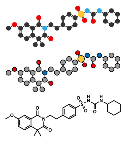 endocrinology: Gliquidone diabetes drug molecule. Stylized 2D renderings and conventional skeletal formula. Illustration