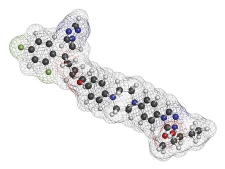fluorine: Posaconazole antifungal drug molecule. 3D rendering. Atoms are represented as spheres with conventional color coding: hydrogen (white), carbon (grey), nitrogen (blue), oxygen (red), fluorine (light green). Stock Photo