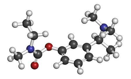 nitrogen: Rivastigmine dementia drug molecule. 3D rendering. Atoms are represented as spheres with conventional color coding: hydrogen (white), carbon (grey), oxygen (red), nitrogen (blue). Stock Photo