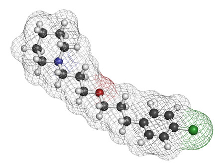 Pitolisant (tiprolisant) narcolepsy drug molecule. 3D rendering. Atoms are represented as spheres with conventional color coding: hydrogen (white), carbon (grey), oxygen (red), nitrogen (blue), chlorine (green).