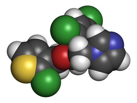 candida: Tioconazole antifungal drug molecule. 3D rendering. Atoms are represented as spheres with conventional color coding: hydrogen (white), carbon (grey), nitrogen (blue), oxygen (red), chlorine (green), sulfur (yellow). Stock Photo