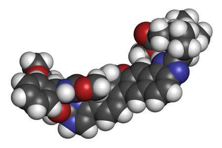 pharma: Velpatasvir hepatitis C virus (HCV) drug molecule. 3D rendering. Atoms are represented as spheres with conventional color coding: hydrogen (white), carbon (grey), oxygen (red), nitrogen (blue).