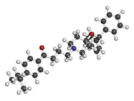 nitrogen: Ebastine antihistamine drug molecule. 3D rendering. Atoms are represented as spheres with conventional color coding: hydrogen (white), carbon (grey), oxygen (red), nitrogen (blue).