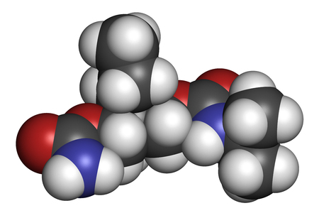 somnolence: Carisoprodol drug molecule. 3D rendering. Atoms are represented as spheres with conventional color coding: hydrogen (white), carbon (grey), oxygen (red), nitrogen (blue).