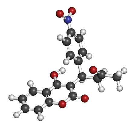 thrombus: Acenocoumarol anticoagulant drug molecule (vitamin K antagonist). 3D rendering. Atoms are represented as spheres with conventional color coding: hydrogen (white), carbon (grey), nitrogen (blue), oxygen (red).
