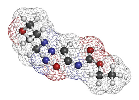 angor: Molsidomine angina drug molecule. 3D rendering. Atoms are represented as spheres with conventional color coding: hydrogen (white), carbon (grey), oxygen (red), nitrogen (blue).