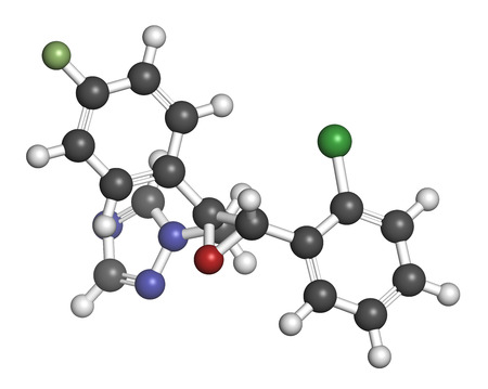 fungicide: Epoxiconazole fungicide molecule, used in agriculture for crop protection. 3D rendering. Atoms are represented as spheres with conventional color coding: hydrogen (white), carbon (grey), nitrogen (blue), oxygen (red), chlorine (green), fluorine (light gre