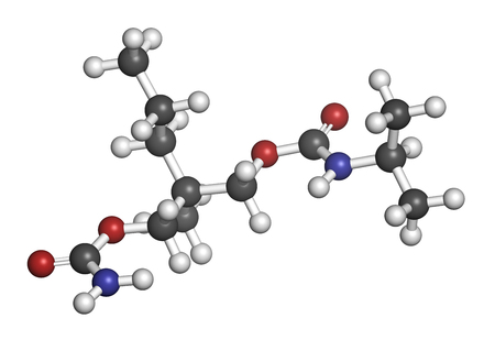 muscle relaxant: Carisoprodol drug molecule. 3D rendering. Atoms are represented as spheres with conventional color coding: hydrogen (white), carbon (grey), oxygen (red), nitrogen (blue).