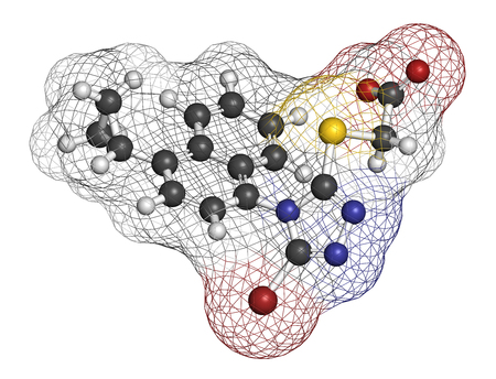 Lesinurad gout drug molecule. 3D rendering. Atoms are represented as spheres with conventional color coding: hydrogen (white), carbon (grey), nitrogen (blue), oxygen (red), sulfur (yellow), bromine (brown). Stock Photo