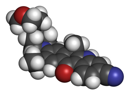 kinase: Alectinib cancer drug molecule. 3D rendering. Atoms are represented as spheres with conventional color coding: hydrogen (white), carbon (grey), nitrogen (blue), oxygen (red).