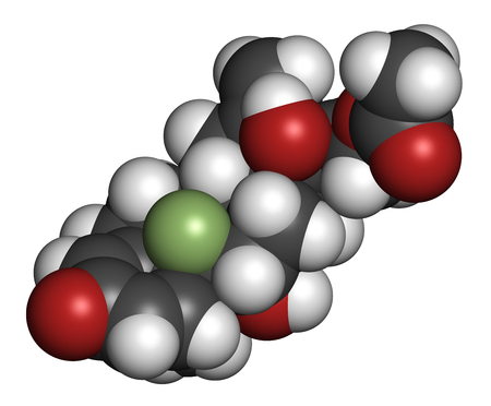 pharma: Fluprednidene acetate corticosteroid molecule. 3D rendering. Atoms are represented as spheres with conventional color coding: hydrogen (white), carbon (grey), oxygen (red), fluorine (light green).