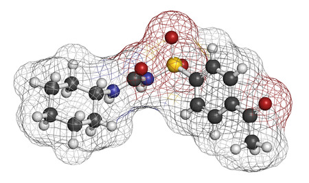 sulfur: Acetohexamide diabetes drug molecule. 3D rendering. Atoms are represented as spheres with conventional color coding: hydrogen (white), carbon (grey), nitrogen (blue), oxygen (red), sulfur (yellow).