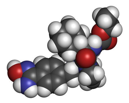 inhibitor: Ximelagatran anticoagulant drug molecule (direct thrombin inhibitor). 3D rendering. Atoms are represented as spheres with conventional color coding: hydrogen (white), carbon (grey), nitrogen (blue), oxygen (red). Stock Photo