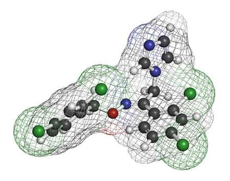 foot fungus: Oxiconazole antifungal drug molecule. 3D rendering. Atoms are represented as spheres with conventional color coding: hydrogen (white), carbon (grey), nitrogen (blue), oxygen (red), chlorine (green). Stock Photo