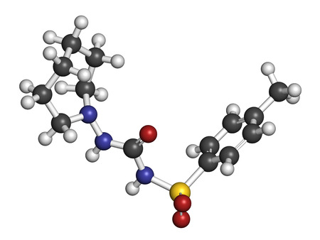 endocrinology: Tolazamide diabetes drug molecule. 3D rendering. Atoms are represented as spheres with conventional color coding: hydrogen (white), carbon (grey), nitrogen (blue), oxygen (red), sulfur (yellow). Stock Photo