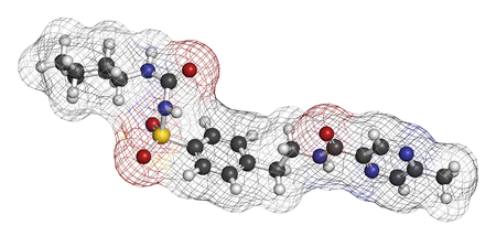 endocrinology: Glipizide diabetes drug molecule. 3D rendering. Atoms are represented as spheres with conventional color coding: hydrogen (white), carbon (grey), nitrogen (blue), oxygen (red), sulfur (yellow).