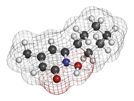 dermatologist: Ciclopirox antifungal drug molecule. 3D rendering. Atoms are represented as spheres with conventional color coding: hydrogen (white), carbon (grey), nitrogen (blue), oxygen (red). Stock Photo