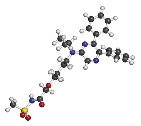 Selexipag pulmonary arterial hypertension drug molecule. 3D rendering. Atoms are represented as spheres with conventional color coding: hydrogen (white), carbon (grey), oxygen (red), nitrogen (blue), sulfur (yellow). Stock Photo