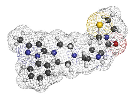 endocrinology: Teneligliptin diabetes drug molecule. 3D rendering. Atoms are represented as spheres with conventional color coding: hydrogen (white), carbon (grey), nitrogen (blue), oxygen (red), sulfur (yellow).