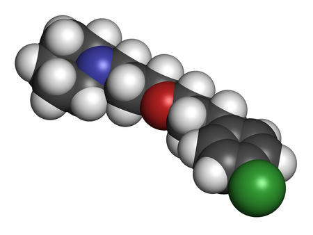 agonist: Pitolisant (tiprolisant) narcolepsy drug molecule. 3D rendering. Atoms are represented as spheres with conventional color coding: hydrogen (white), carbon (grey), oxygen (red), nitrogen (blue), chlorine (green).