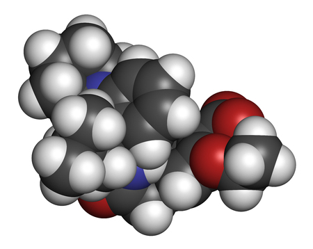 endocrinology: Repaglinide diabetes drug molecule. 3D rendering. Atoms are represented as spheres with conventional color coding: hydrogen (white), carbon (grey), nitrogen (blue), oxygen (red).