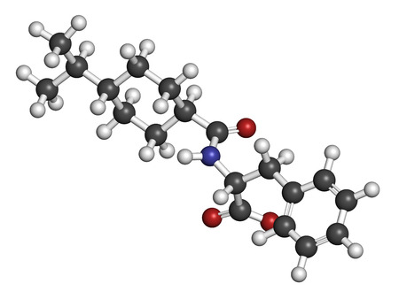 endocrinology: Nateglinide diabetes drug molecule. 3D rendering. Atoms are represented as spheres with conventional color coding: hydrogen (white), carbon (grey), nitrogen (blue), oxygen (red).