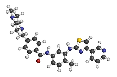 fibroblast: Masitinib cancer drug molecule. 3D rendering. Atoms are represented as spheres with conventional color coding: hydrogen (white), carbon (grey), oxygen (red), nitrogen (blue), sulfur (yellow).