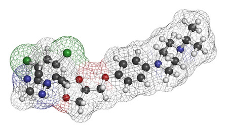vaginal: Terconazole antifungal drug molecule. 3D rendering. Atoms are represented as spheres with conventional color coding: hydrogen (white), carbon (grey), nitrogen (blue), oxygen (red), chlorine (green). Stock Photo