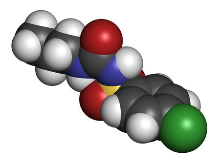 endocrinology: Chlorpropamide diabetes drug molecule. 3D rendering. Atoms are represented as spheres with conventional color coding: hydrogen (white), carbon (grey), nitrogen (blue), oxygen (red), sulfur (yellow), chlorine (green). Stock Photo