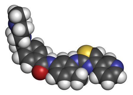 orphan: Masitinib cancer drug molecule. 3D rendering. Atoms are represented as spheres with conventional color coding: hydrogen (white), carbon (grey), oxygen (red), nitrogen (blue), sulfur (yellow).