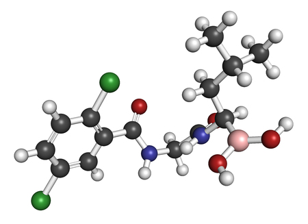 myeloma: Ixazomib multiple myeloma drug molecule. 3D rendering. Atoms are represented as spheres with conventional color coding: hydrogen (white), carbon (grey), oxygen (red), nitrogen (blue), chlorine (green), boron (pink). Stock Photo