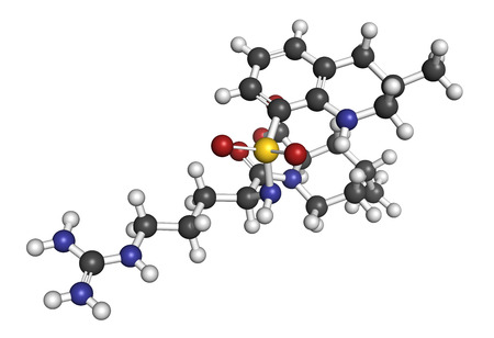 coagulation: Argatroban anticoagulant drug molecule (direct thrombin inhibitor). 3D rendering. Atoms are represented as spheres with conventional color coding: hydrogen (white), carbon (grey), nitrogen (blue), oxygen (red), sulfur (yellow).