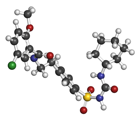 beta cell: Glibenclamide (glyburide) diabetes drug molecule. 3D rendering. Atoms are represented as spheres with conventional color coding: hydrogen (white), carbon (grey), nitrogen (blue), oxygen (red), sulfur (yellow), chlorine (green). Stock Photo