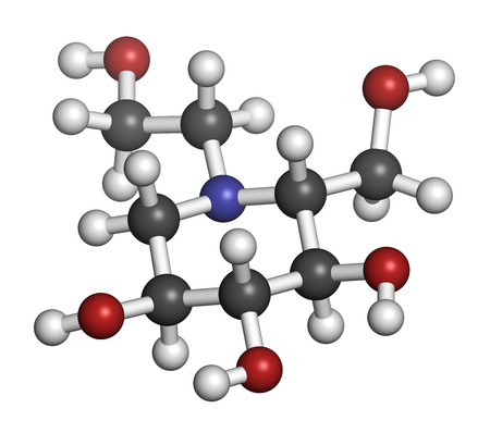 endocrinology: Miglitol diabetes drug molecule. 3D rendering. Atoms are represented as spheres with conventional color coding: hydrogen (white), carbon (grey), nitrogen (blue), oxygen (red).