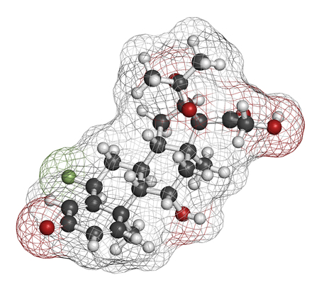 fluorine: Flunisolide corticosteroid drug molecule. 3D rendering. Atoms are represented as spheres with conventional color coding: hydrogen (white), carbon (grey), oxygen (red), fluorine (light green).