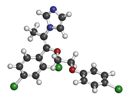 nitrogen: Omoconazole antifungal drug molecule. 3D rendering. Atoms are represented as spheres with conventional color coding: hydrogen (white), carbon (grey), nitrogen (blue), oxygen (red), chlorine (green). Stock Photo