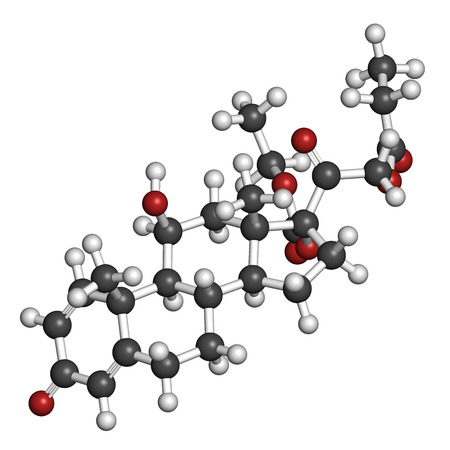 atrophy: Prednicarbate topical corticosteroid drug molecule. 3D rendering. Atoms are represented as spheres with conventional color coding: hydrogen (white), carbon (grey), oxygen (red).