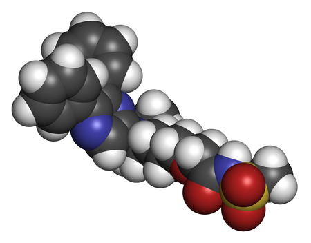 agonist: Selexipag pulmonary arterial hypertension drug molecule. 3D rendering. Atoms are represented as spheres with conventional color coding: hydrogen (white), carbon (grey), oxygen (red), nitrogen (blue), sulfur (yellow). Stock Photo