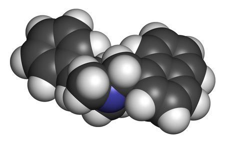 3d nitrogen: Naftifine antifungal drug molecule. 3D rendering. Atoms are represented as spheres with conventional color coding: hydrogen (white), carbon (grey), nitrogen (blue).