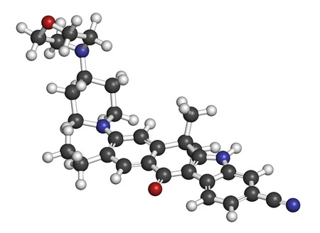 3d carbon: Alectinib cancer drug molecule. 3D rendering. Atoms are represented as spheres with conventional color coding: hydrogen (white), carbon (grey), nitrogen (blue), oxygen (red).