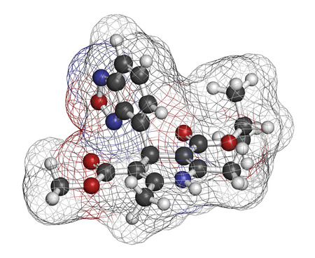 3d nitrogen: Isradipine hypertension drug molecule. 3D rendering. Atoms are represented as spheres with conventional color coding: hydrogen (white), carbon (grey), oxygen (red), nitrogen (blue).