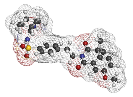 sulfur: Gliquidone diabetes drug molecule. 3D rendering. Atoms are represented as spheres with conventional color coding: hydrogen (white), carbon (grey), nitrogen (blue), oxygen (red), sulfur (yellow).
