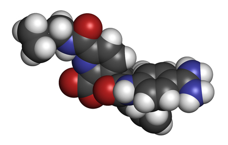 hydrogen: Avoralstat hereditary angioedema (HAE) drug molecule. 3D rendering. Atoms are represented as spheres with conventional color coding: hydrogen (white), carbon (grey), oxygen (red), nitrogen (blue).